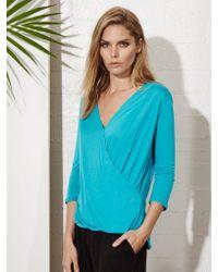Lanston - Blue Surplice 3/4 Sleeve Top - Lyst