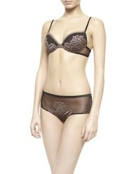 La Perla | Beige Lace-appliquéd Stretch-mesh Underwired Bra | Lyst