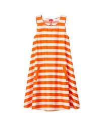 LA REDOUTE - Orange Striped A-line Dress With Back Bow - Lyst