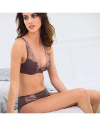 LA REDOUTE - Gray Padded, Plunge Bra With Embroidery - Lyst