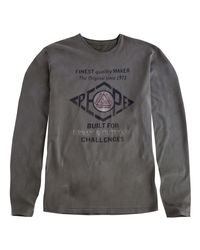 Pepe Jeans - Gray Plain Long-sleeved Crew Neck T-shirt for Men - Lyst