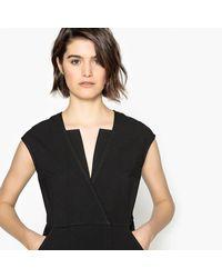 LA REDOUTE - Black Short-sleeved Flared Dress With Stylish Neckline - Lyst