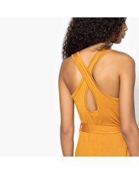 LA REDOUTE - Orange Tie-waist Maxi Dress - Lyst