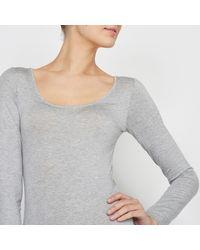 LA REDOUTE - Gray Long-sleeved Jersey Bodysuit - Lyst