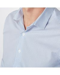 LA REDOUTE | Blue Chemise Popeline Rayée Coupe Slim Manches Longues for Men | Lyst