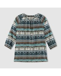 Marc O'polo | Blue Printed V-neck Blouse With 3/4 Length Sleeves | Lyst