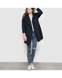Suncoo | Black Long Coat With Asymmetric Zip Fastening | Lyst