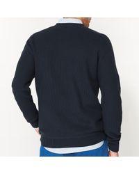 LA REDOUTE - Blue Pull Col Rond En Maille Fantaisie Pur Coton for Men - Lyst
