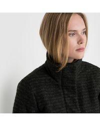 Ichi | Black Segaz Ja Zip-up Coat With Stand-up Collar And Padded Interior | Lyst