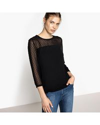Best Mountain - Black Mesh Style Polka Top T-shirt - Lyst