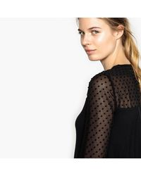 Best Mountain | Black Mesh Style Polka Top T-shirt | Lyst