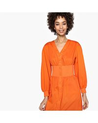 LA REDOUTE - Orange Flared Button-through Dress With Elasticated Waist - Lyst