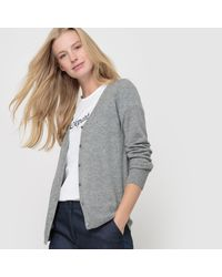 LA REDOUTE - Gray Pure Cashmere Jersey V-neck Cardigan - Lyst