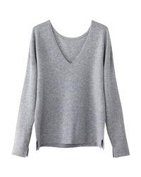 LA REDOUTE - Gray Cashmere V-neck Jumper/sweater - Lyst