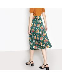 LA REDOUTE - Green Printed Pleated Skirt - Lyst