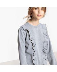 LA REDOUTE - Gray Ruffled Cotton Mix Sweatshirt - Lyst