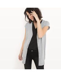 LA REDOUTE - Gray Short-sleeved Cotton And Silk Cardigan - Lyst