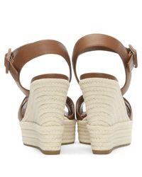 Sergio Rossi - Brown Maui 75 Tan Leather Wedge Sandal - Lyst