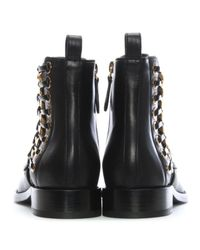 Alexander McQueen - Braided Chain Black Leather Chelsea Boots - Lyst