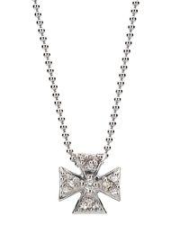 Elizabeth Showers - Metallic Mini Maltese Pave Pendant Necklace - Lyst