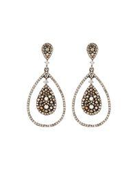 Bavna | Metallic Mixed Diamond Teardrop Earrings | Lyst
