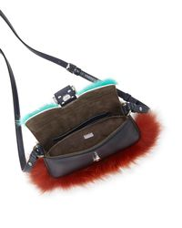 Fendi - Blue Baguette Micro Bag Bugs Crossbody Bag - Lyst