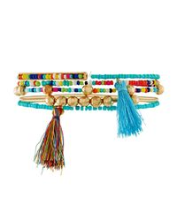 Fragments - Blue Beaded Tasseled Stretch Bracelets - Lyst