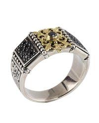 Konstantino - Metallic Asteri Floral Pave Black Diamond Band Ring - Lyst