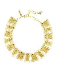 Oscar de la Renta - Metallic Golden Scalloped Edge Necklace - Lyst