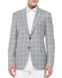 Brioni - Gray Plaid Jacket With Contrast Deco for Men - Lyst