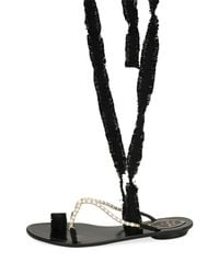 Rene Caovilla - Black Pearlescent Ribbon Flat Sandals - Lyst