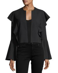Laundry by Shelli Segal | Black Bell-sleeve Flutter-trim Crop Jacket | Lyst