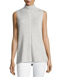 Lafayette 148 New York - Gray Vanise Sleeveless Mock-neck Cashmere Sweater - Lyst