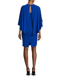 St. John - Blue Sequin Cape Dress - Lyst