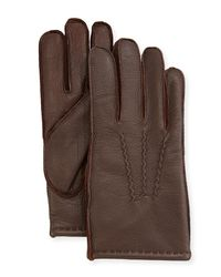 Neiman Marcus - Brown Three-point-stitch Leather Gloves - Lyst
