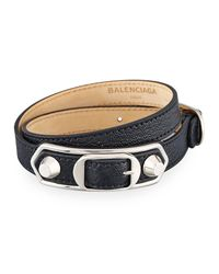 Balenciaga - Black Metallic Edge Leather Wrap Bracelet - Lyst