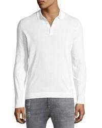 Brunello Cucinelli - White Men's Long-sleeve Polo Shirt for Men - Lyst
