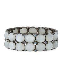 Bavna - Metallic Wide Moonstone Bangle Bracelet - Lyst