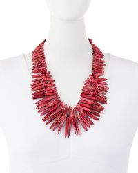 Nest - Red Jasper Spike Beaded Necklace - Lyst
