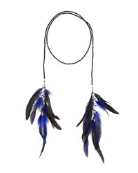Nakamol - Crystal Lariat Feather Necklace Blue - Lyst