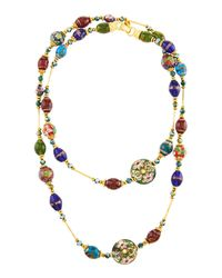 Jose & Maria Barrera | Blue Long Multi-jewel Cloissoné Necklace | Lyst
