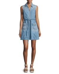 3a1ea95ccc Lyst - 7 For All Mankind Belted Zip-front Denim Dress in Blue