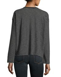 Vince | Black Striped Crewneck Long-sleeve Pima Cotton Top | Lyst