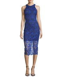 Alexia Admor - Blue Lace Overlay Midi Dress - Lyst