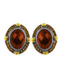 Konstantino   Metallic Sterling Silver & 18 Karat Gold Oval Button Earring   Lyst