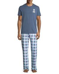 Psycho Bunny - Blue Men's Relaxed Logo-print Lounge Pants for Men - Lyst