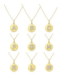 KC Designs | Metallic 14k Yellow Gold Diamond Disc Initial Necklace | Lyst