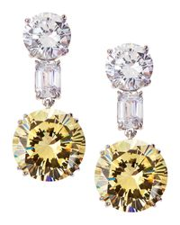 Fantasia by Deserio | Multicolor Mixed-cut Two-tone Cz Drop Earrings | Lyst