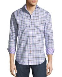 Thomas Dean - Yellow Check-print Dobby Sport Shirt for Men - Lyst