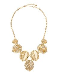 Lydell NYC - Metallic Crystal Leaf Drop Necklace - Lyst